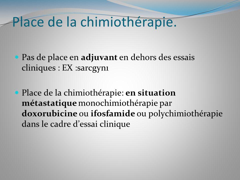 Place de la chimiothérapie. Pas de place en adjuvant en dehors des essais cliniques : EX :sarcgyn1 Place de la chimiothérapie: en situation métastatiq
