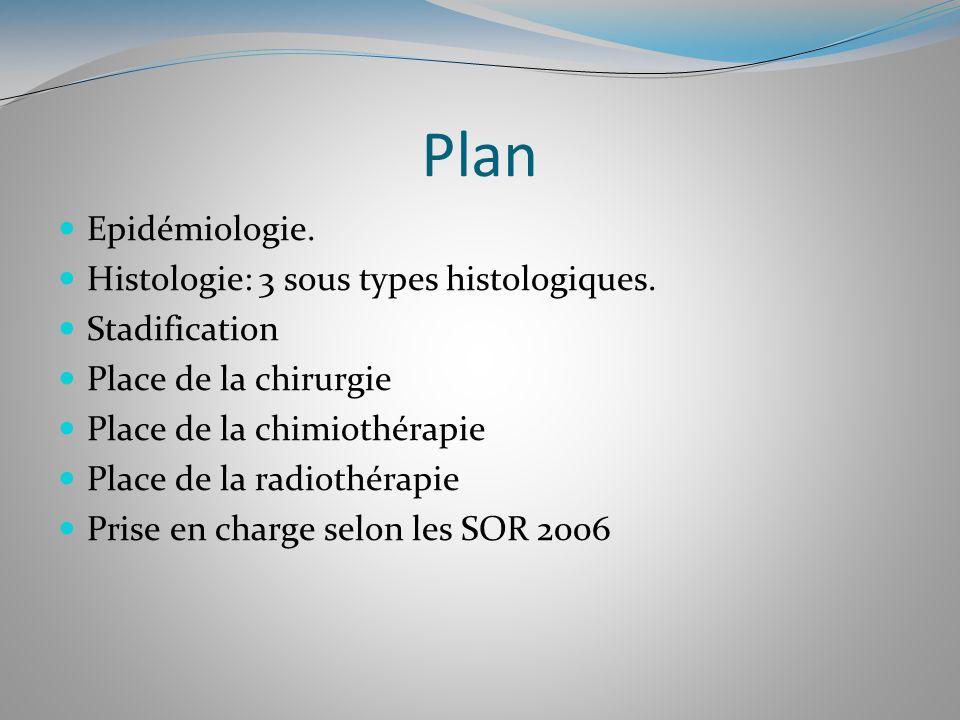 Plan Epidémiologie. Histologie: 3 sous types histologiques. Stadification Place de la chirurgie Place de la chimiothérapie Place de la radiothérapie P