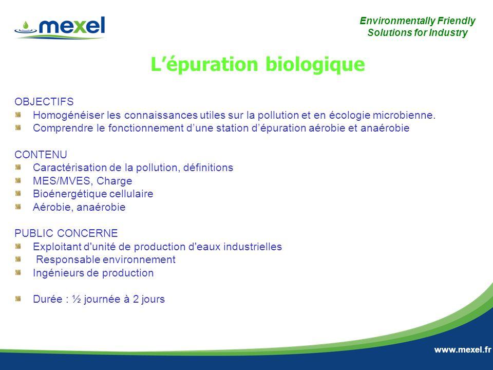 Environmentally Friendly Solutions for Industry www.mexel.fr OBJECTIFS Homogénéiser les connaissances utiles sur la pollution et en écologie microbien