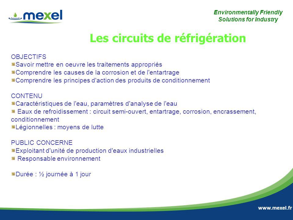 Environmentally Friendly Solutions for Industry www.mexel.fr OBJECTIFS Savoir mettre en oeuvre les traitements appropriés Comprendre les causes de la