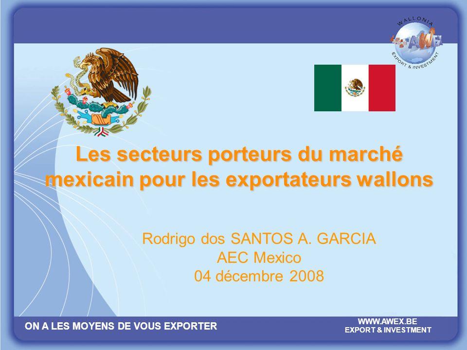 ON A LES MOYENS DE VOUS EXPORTER WWW.AWEX.BE EXPORT & INVESTMENT Les chapitres Le Mexique à grands traits Les performances mexicaines Investissements Opportunités & export Conseils