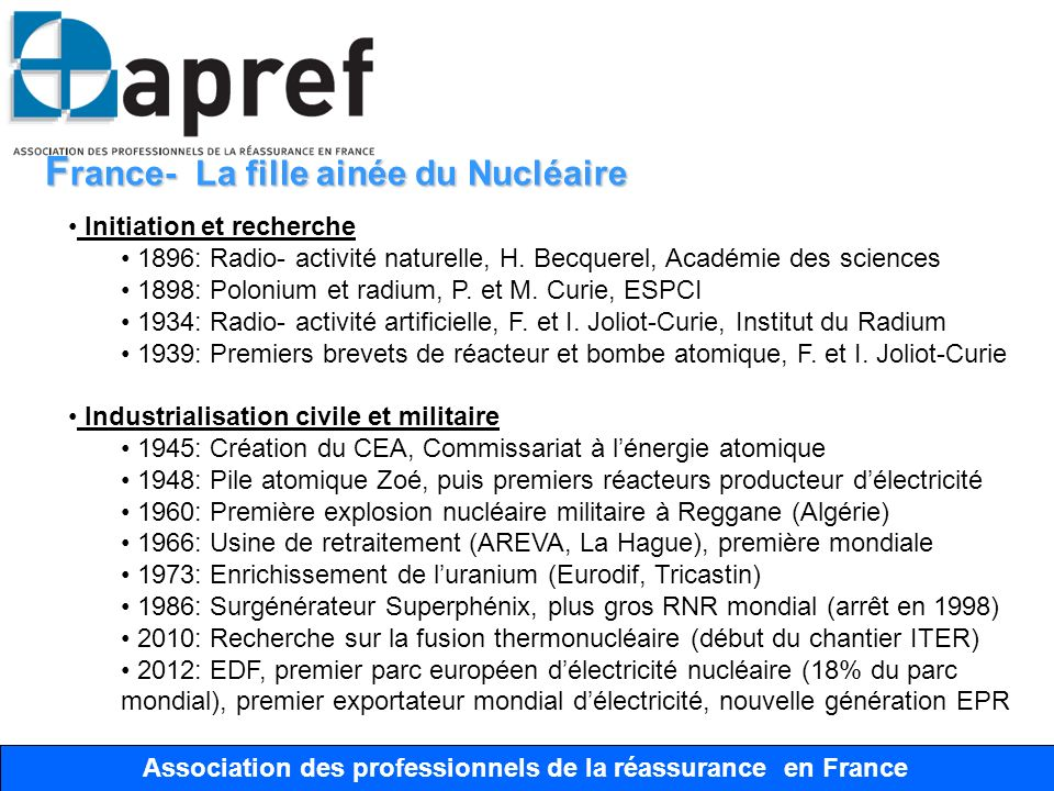 Association des Professionnels de la Réassurance en France Association des professionnels de la réassurance en France F rance- La fille ainée du Nuclé