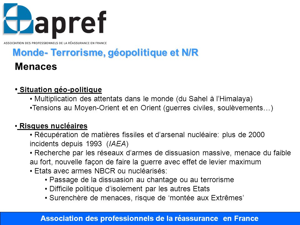 Association des Professionnels de la Réassurance en France Association des professionnels de la réassurance en France Monde- Terrorisme, géopolitique