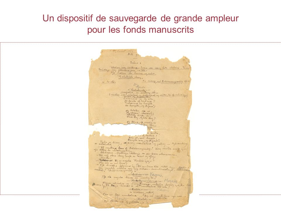 Un dispositif de sauvegarde de grande ampleur pour les fonds manuscrits