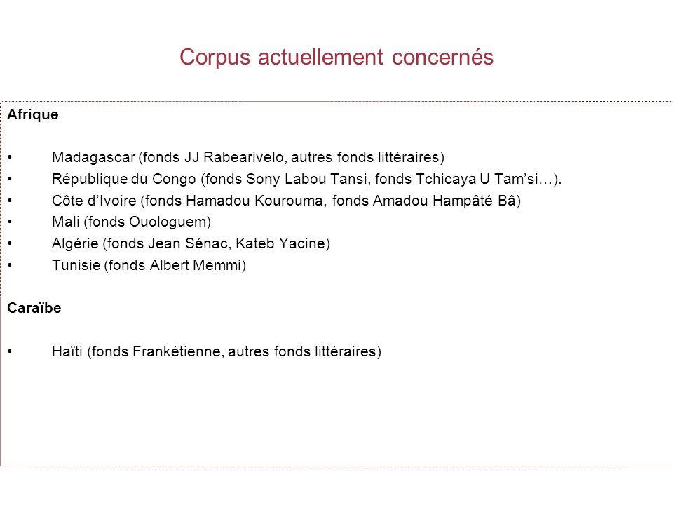 Corpus actuellement concernés Afrique Madagascar (fonds JJ Rabearivelo, autres fonds littéraires) République du Congo (fonds Sony Labou Tansi, fonds Tchicaya U Tamsi…).