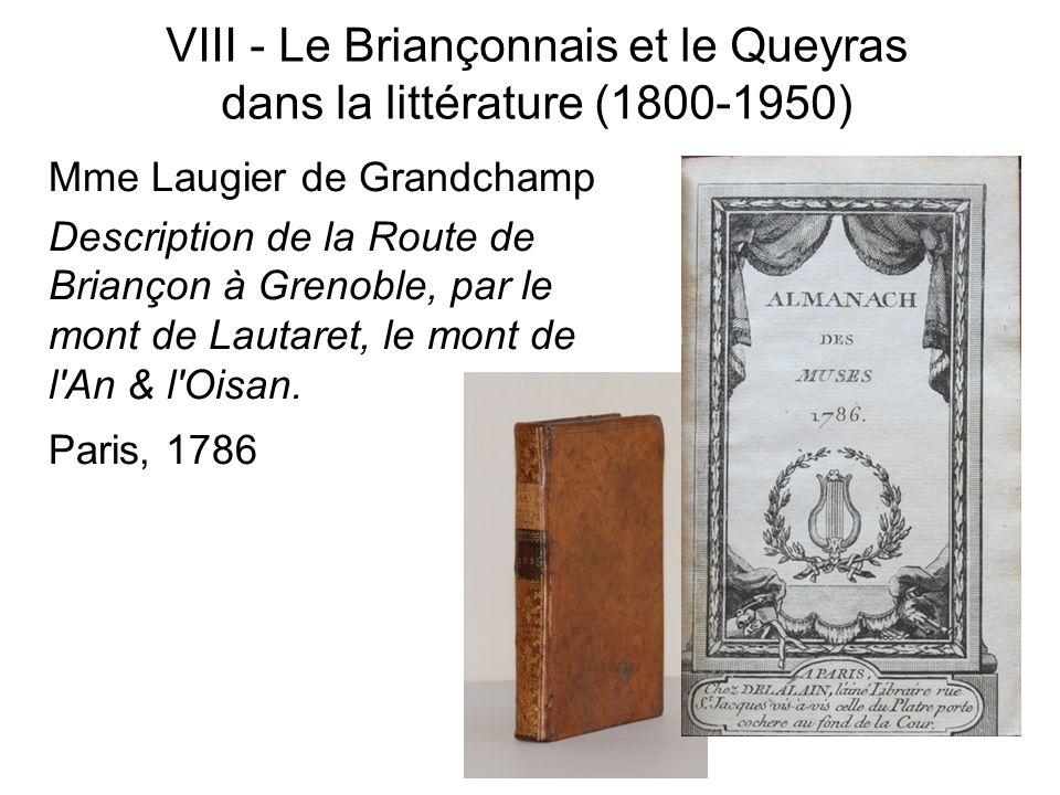 Mme Laugier de Grandchamp Description de la Route de Briançon à Grenoble, par le mont de Lautaret, le mont de l'An & l'Oisan. Paris, 1786 VIII - Le Br