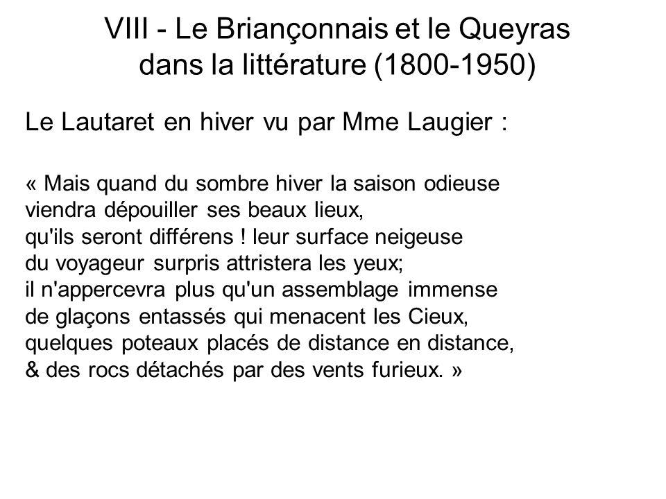 Le Lautaret en hiver vu par Mme Laugier : « Mais quand du sombre hiver la saison odieuse viendra dépouiller ses beaux lieux, qu'ils seront différens !