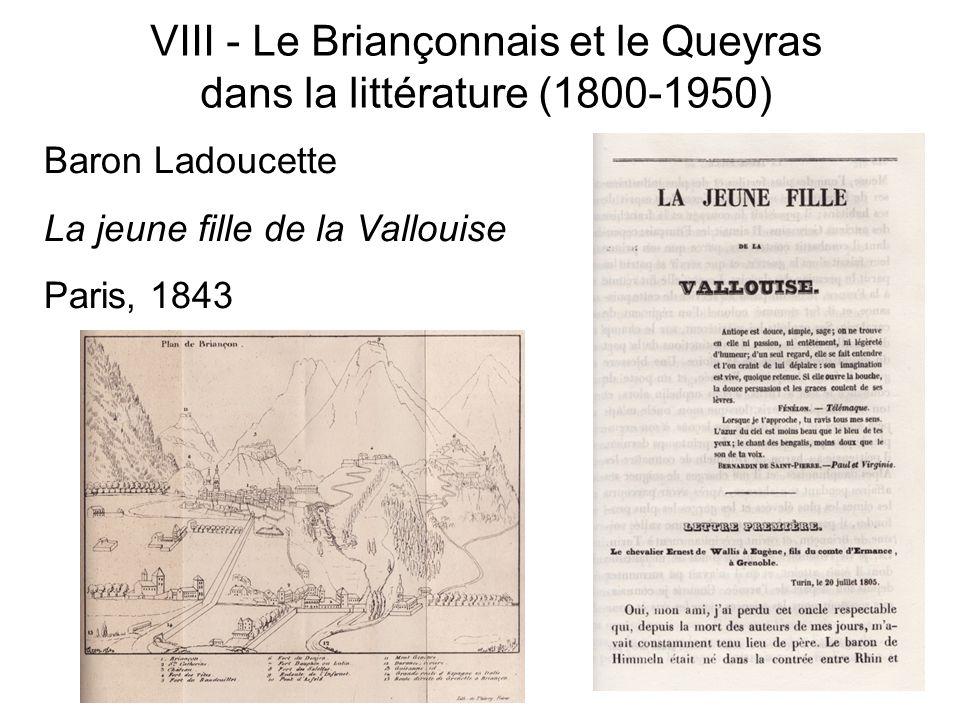 VIII - Le Briançonnais et le Queyras dans la littérature (1800-1950) Baron Ladoucette La jeune fille de la Vallouise Paris, 1843
