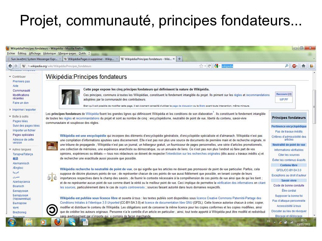 Projet, communauté, principes fondateurs...