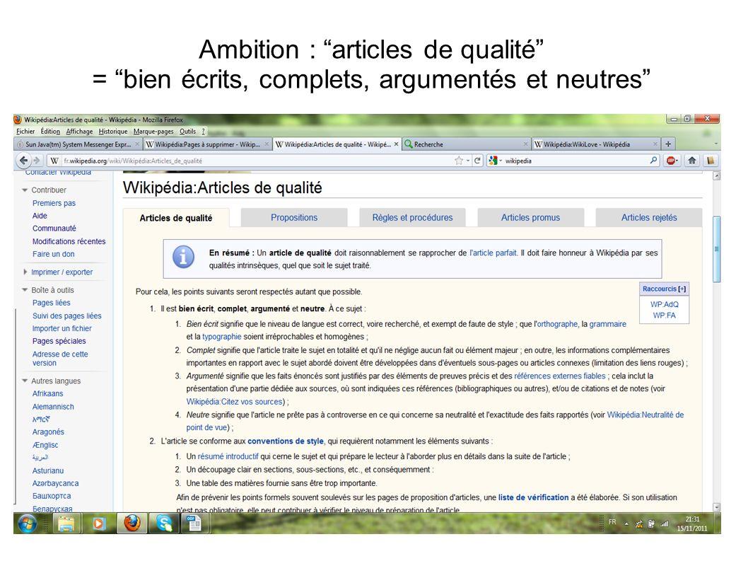 Ambition : articles de qualité = bien écrits, complets, argumentés et neutres