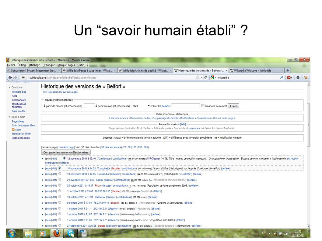 Un savoir humain établi ?