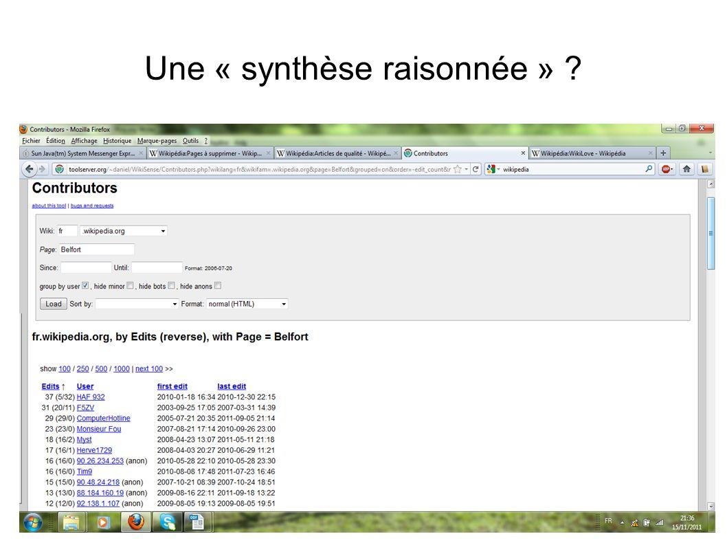 Une « synthèse raisonnée » ?