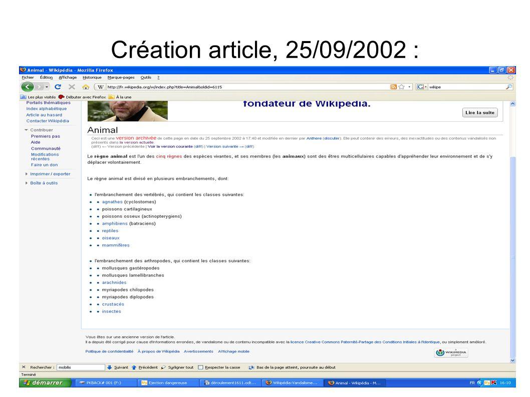 Création article, 25/09/2002 :
