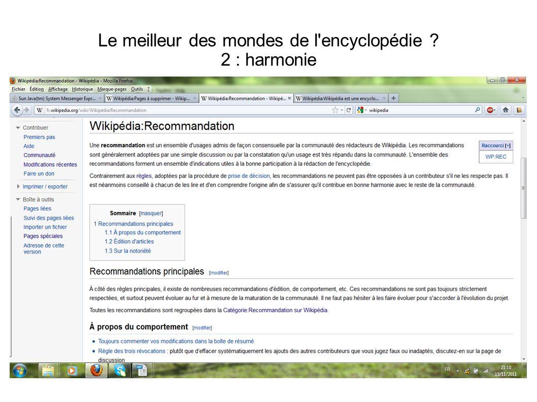 Le meilleur des mondes de l'encyclopédie ? 2 : harmonie