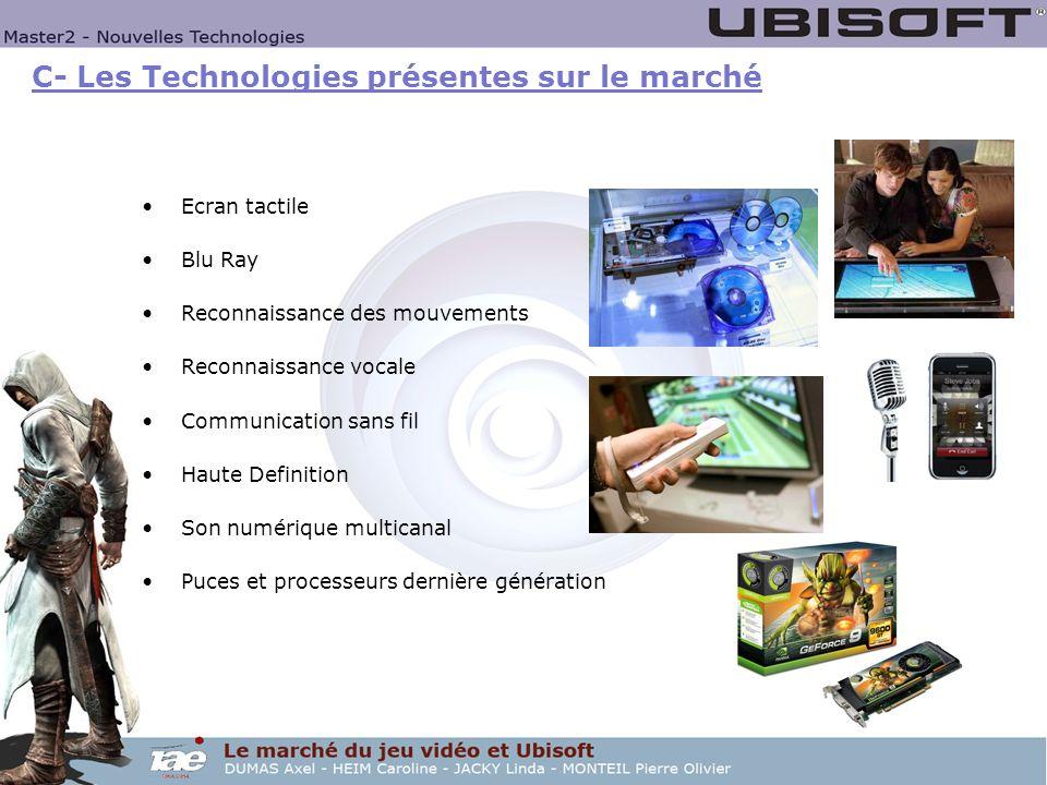 C- Les Technologies présentes sur le marché Ecran tactile Blu Ray Reconnaissance des mouvements Reconnaissance vocale Communication sans fil Haute Def