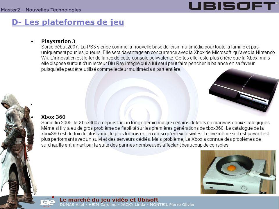 D- Les plateformes de jeu Playstation 3 Sortie début 2007. La PS3 sérige comme la nouvelle base de loisir multimédia pour toute la famille et pas uniq