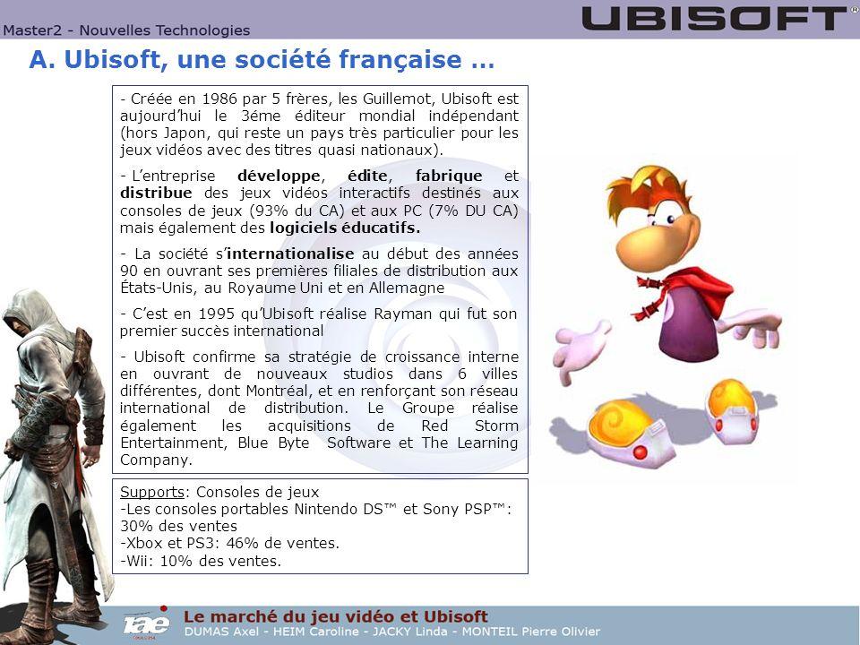 A. Ubisoft, une société française … - Créée en 1986 par 5 frères, les Guillemot, Ubisoft est aujourdhui le 3éme éditeur mondial indépendant (hors Japo