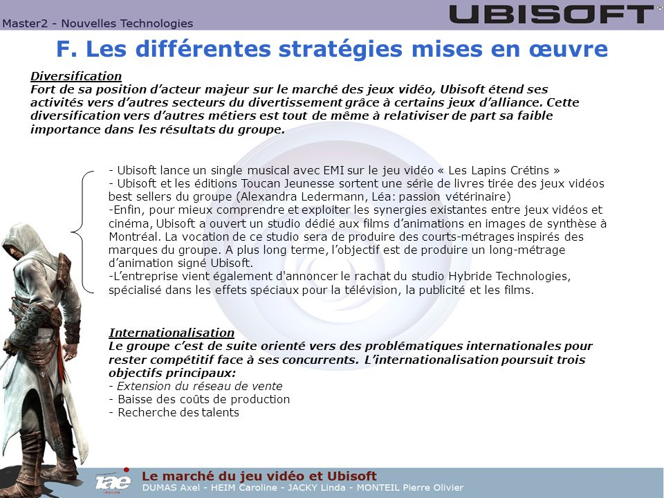 F. Les différentes stratégies mises en œuvre Diversification Fort de sa position dacteur majeur sur le marché des jeux vidéo, Ubisoft étend ses activi