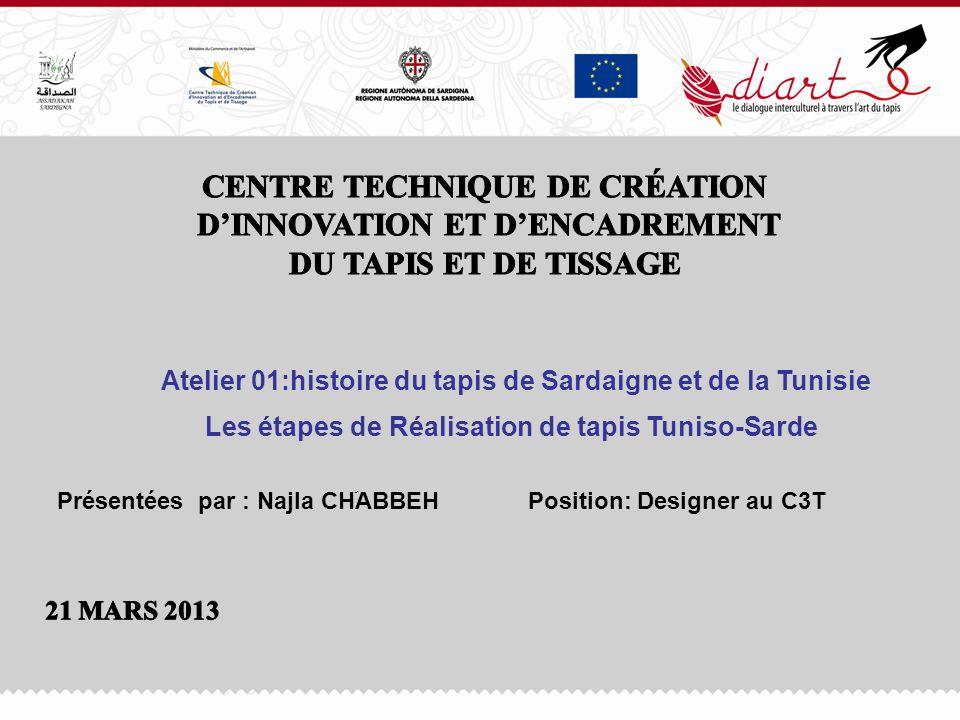 Les étapes de Réalisation de tapis Tuniso-Sarde Atelier 01:histoire du tapis de Sardaigne et de la Tunisie Présentées par : Najla CHَABBEH Position: D
