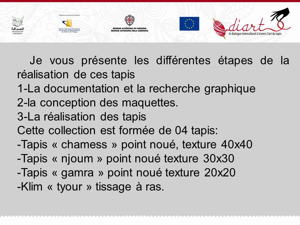 1- la documentation et la recherche graphique a été basée sur les motifs et les symboles qui ont été communiquées par Essadeka dune part, et les motifs tunisiens sur la base du corpus dautre part.