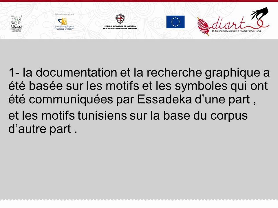 1- la documentation et la recherche graphique a été basée sur les motifs et les symboles qui ont été communiquées par Essadeka dune part, et les motif