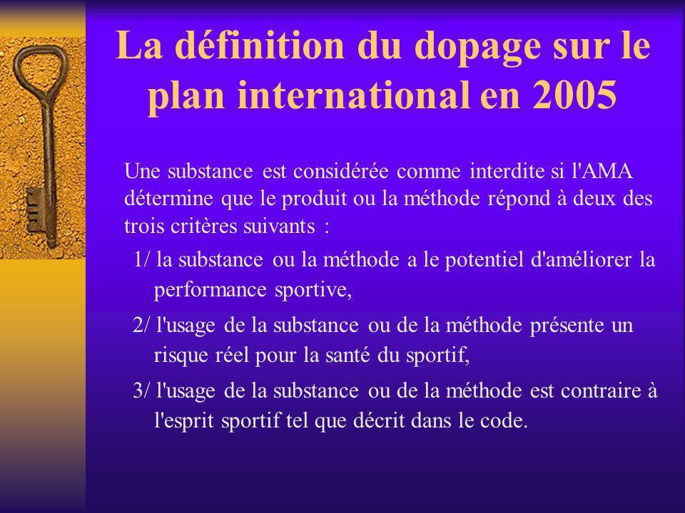 La définition du dopage sur le plan international en 2005 Une substance est considérée comme interdite si l'AMA détermine que le produit ou la méthode