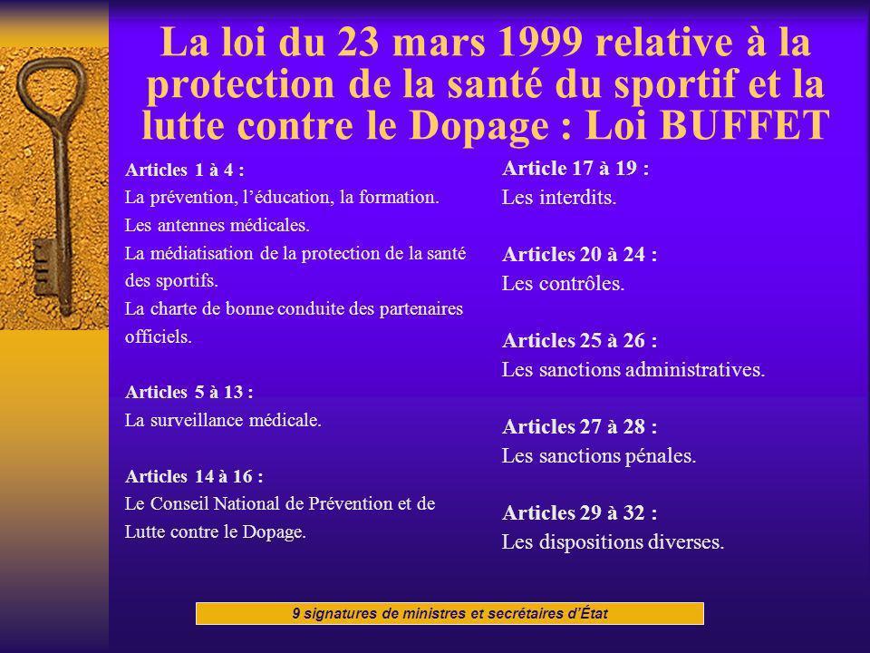 La loi du 23 mars 1999 relative à la protection de la santé du sportif et la lutte contre le Dopage : Loi BUFFET Articles 1 à 4 : La prévention, léduc