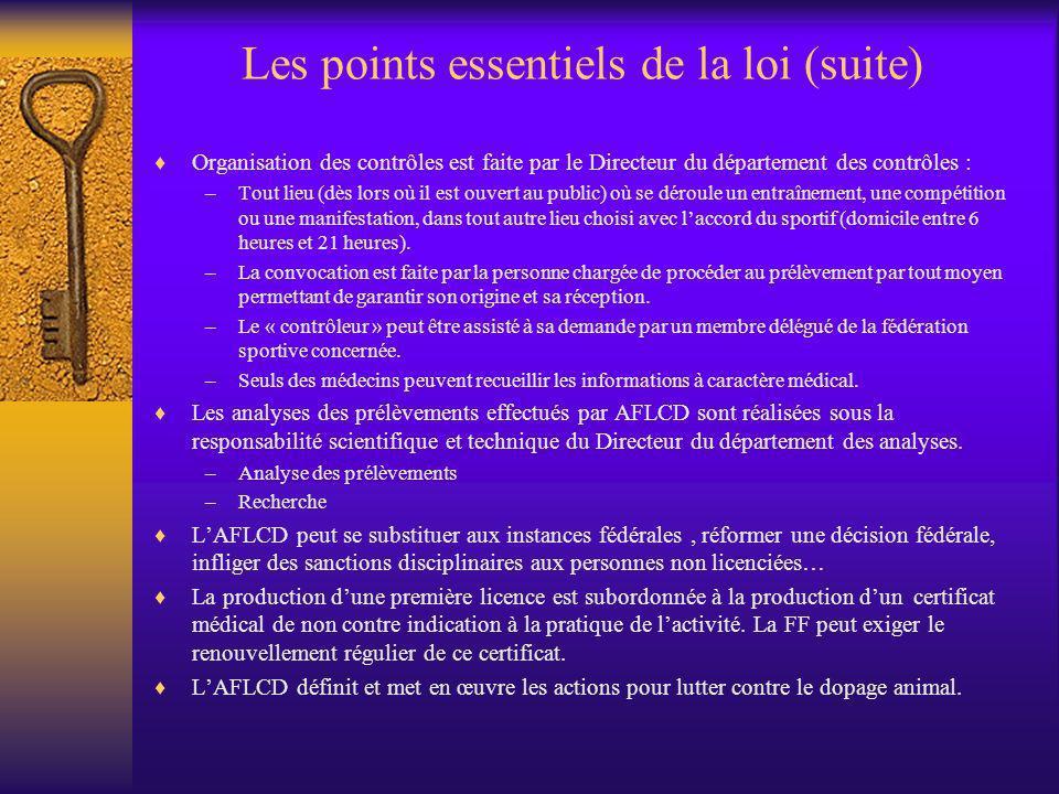 Les points essentiels de la loi (suite) Organisation des contrôles est faite par le Directeur du département des contrôles : –Tout lieu (dès lors où i