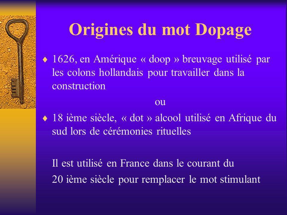 Origines du mot Dopage 1626, en Amérique « doop » breuvage utilisé par les colons hollandais pour travailler dans la construction ou 18 ième siècle, «