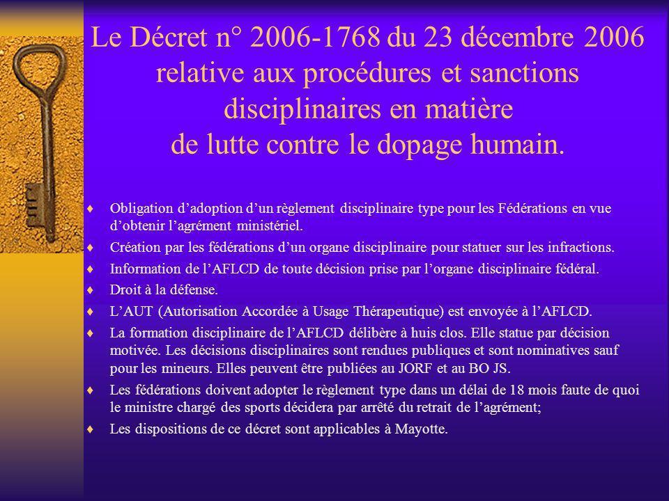 Le Décret n° 2006-1768 du 23 décembre 2006 relative aux procédures et sanctions disciplinaires en matière de lutte contre le dopage humain. Obligation