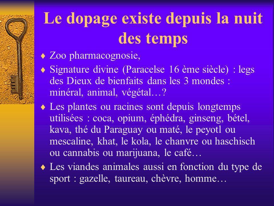 Le dopage existe depuis la nuit des temps Zoo pharmacognosie, Signature divine (Paracelse 16 ème siècle) : legs des Dieux de bienfaits dans les 3 mond
