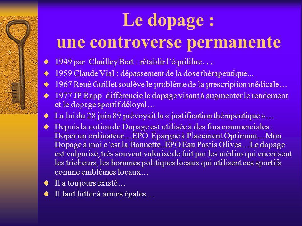 Le dopage : une controverse permanente 1949 par Chailley Bert : rétablir léquilibre … 1959 Claude Vial : dépassement de la dose thérapeutique... 1967