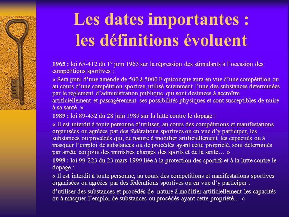 Les dates importantes : les définitions évoluent 1965 : loi 65-412 du 1° juin 1965 sur la répression des stimulants à loccasion des compétitions sport