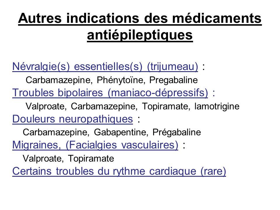 Autres indications des médicaments antiépileptiques Névralgie(s) essentielles(s) (trijumeau) : Carbamazepine, Phénytoïne, Pregabaline Troubles bipolai