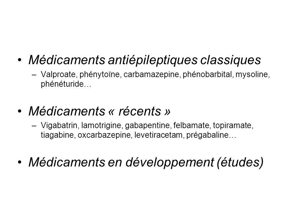 Médicaments antiépileptiques classiques –Valproate, phénytoïne, carbamazepine, phénobarbital, mysoline, phénéturide… Médicaments « récents » –Vigabatr