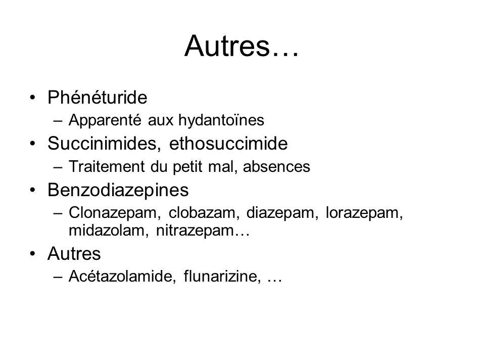 Autres… Phénéturide –Apparenté aux hydantoïnes Succinimides, ethosuccimide –Traitement du petit mal, absences Benzodiazepines –Clonazepam, clobazam, d