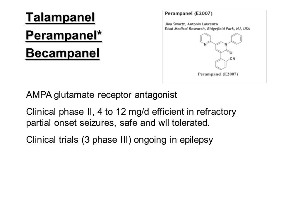 TalampanelPerampanel*Becampanel AMPA glutamate receptor antagonist Clinical phase II, 4 to 12 mg/d efficient in refractory partial onset seizures, saf