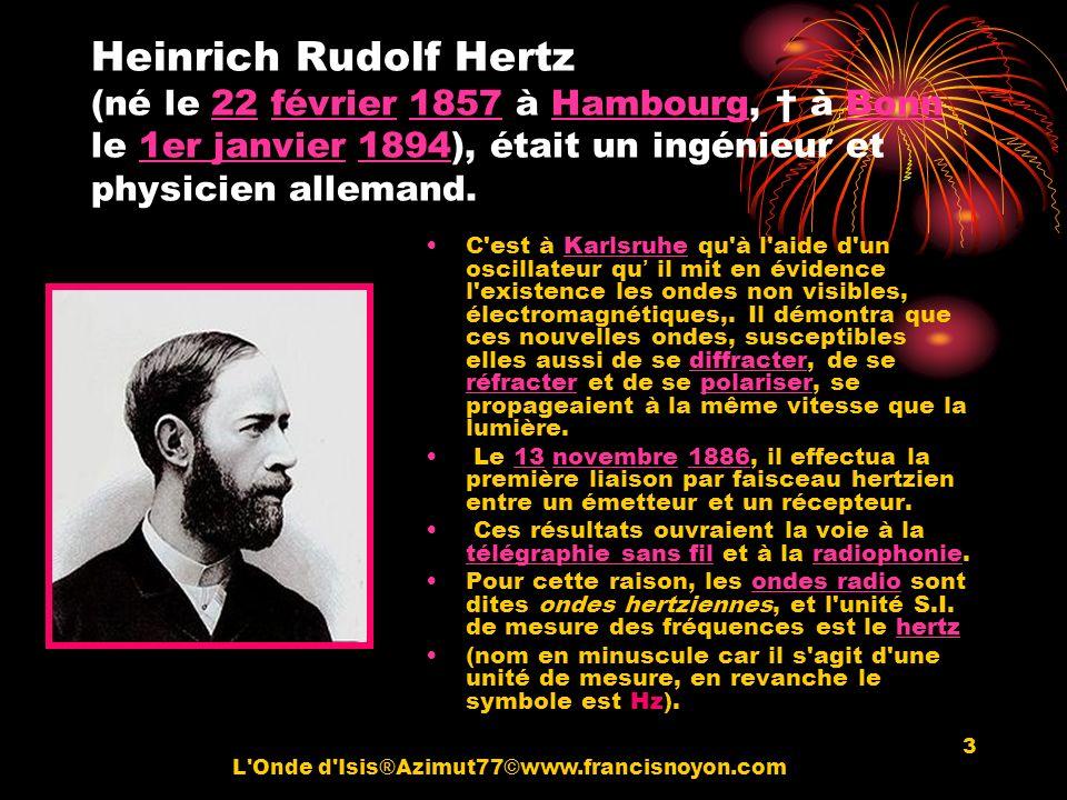 3 Heinrich Rudolf Hertz (né le 22 février 1857 à Hambourg, à Bonn le 1er janvier 1894), était un ingénieur et physicien allemand.22février1857Hambourg