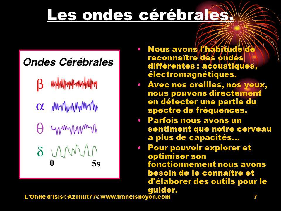 7 Les ondes cérébrales. Nous avons l'habitude de reconnaître des ondes différentes : acoustiques, électromagnétiques. Avec nos oreilles, nos yeux, nou