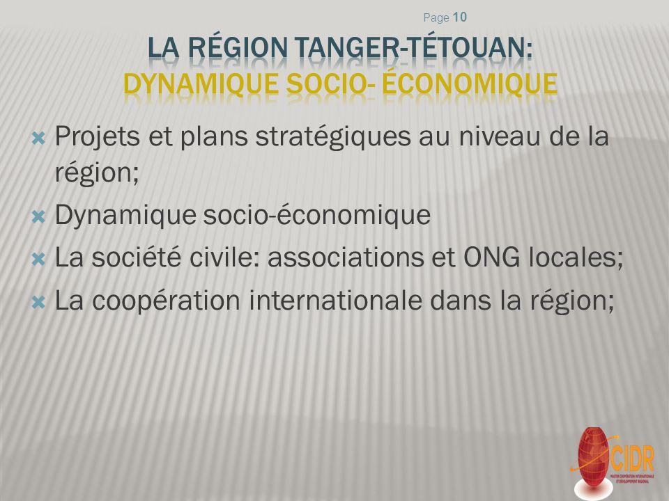 Projets et plans stratégiques au niveau de la région; Dynamique socio-économique La société civile: associations et ONG locales; La coopération intern