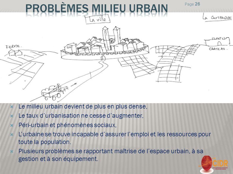 Le milieu urbain devient de plus en plus dense, Le taux durbanisation ne cesse daugmenter, Péri-urbain et phénomènes sociaux, Lurbaine se trouve incap