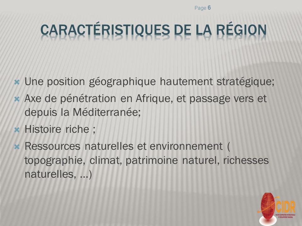 Une position géographique hautement stratégique; Axe de pénétration en Afrique, et passage vers et depuis la Méditerranée; Histoire riche ; Ressources