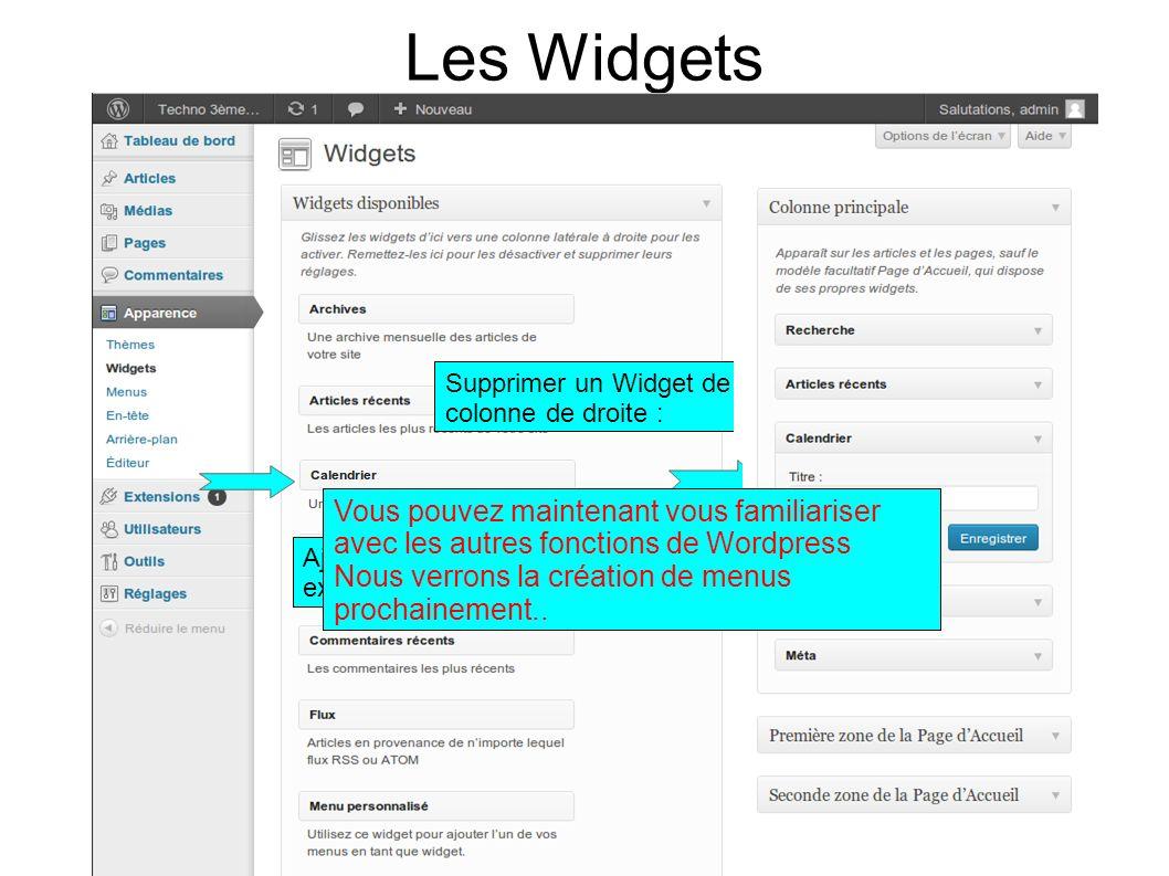 Les Widgets Supprimer un Widget de la colonne de droite : Ajouter un calendrier par exemple Vous pouvez maintenant vous familiariser avec les autres fonctions de Wordpress Nous verrons la création de menus prochainement..