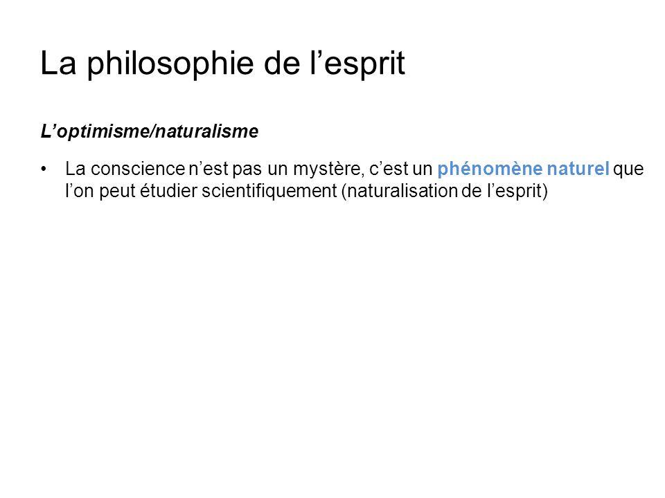 La philosophie de lesprit Loptimisme/naturalisme La conscience nest pas un mystère, cest un phénomène naturel que lon peut étudier scientifiquement (n