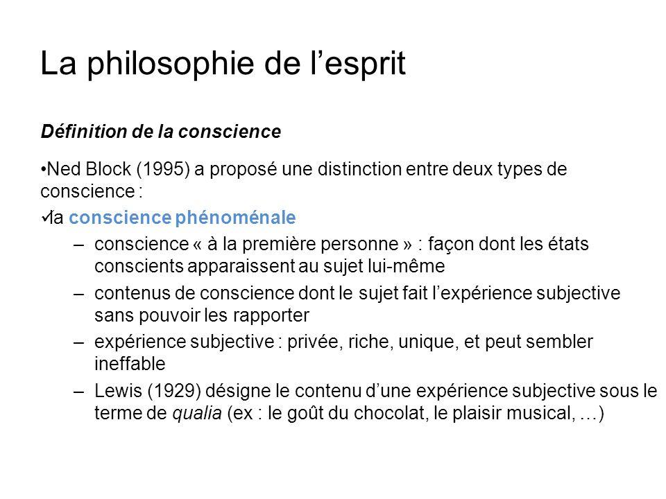 La philosophie de lesprit Définition de la conscience Ned Block (1995) a proposé une distinction entre deux types de conscience : la conscience phénom