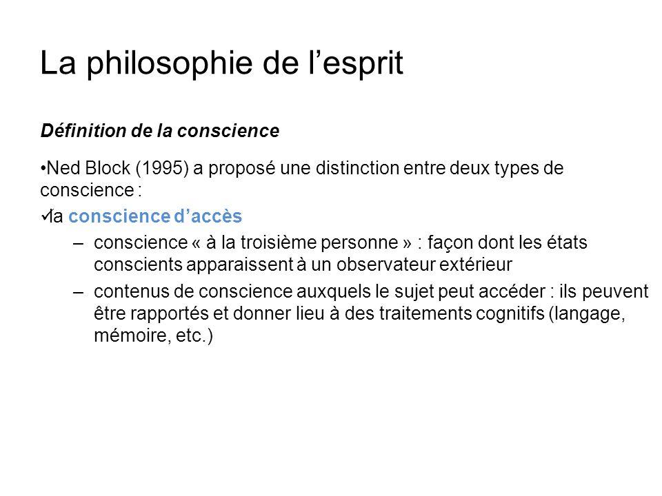 La philosophie de lesprit Définition de la conscience Ned Block (1995) a proposé une distinction entre deux types de conscience : la conscience daccès
