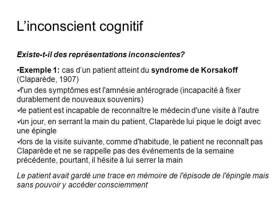 Linconscient cognitif Existe-t-il des représentations inconscientes? Exemple 1: cas dun patient atteint du syndrome de Korsakoff (Claparède, 1907) l'u