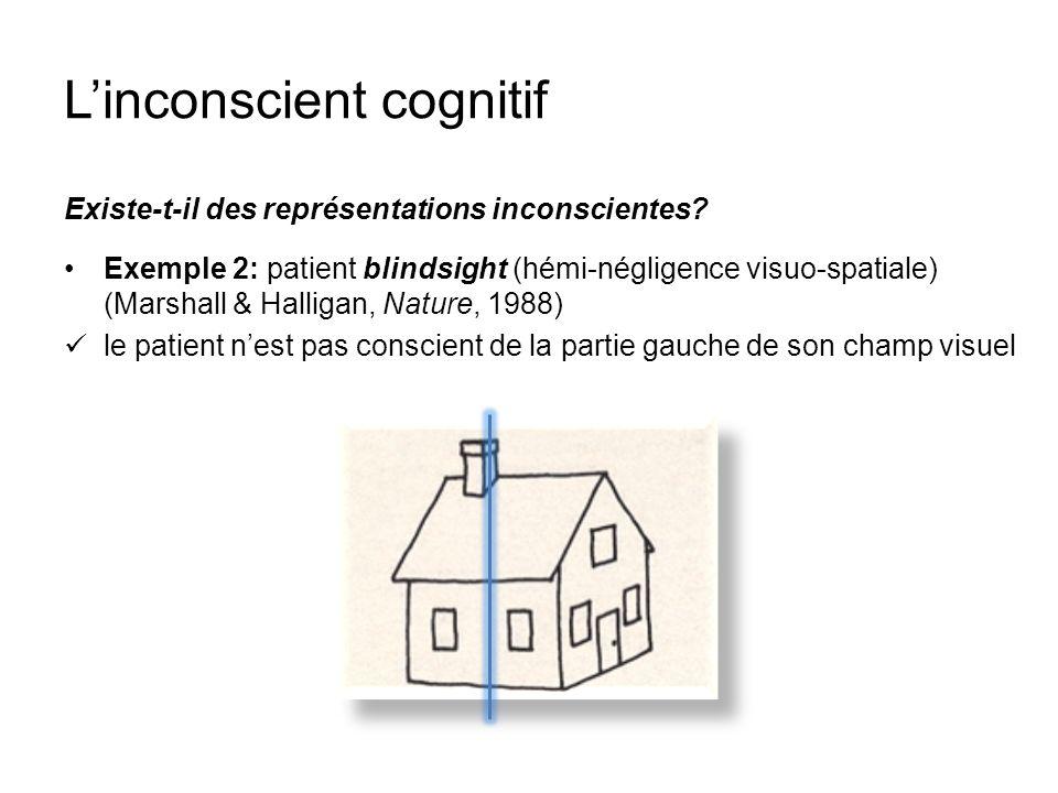 Linconscient cognitif Existe-t-il des représentations inconscientes? Exemple 2: patient blindsight (hémi-négligence visuo-spatiale) (Marshall & Hallig