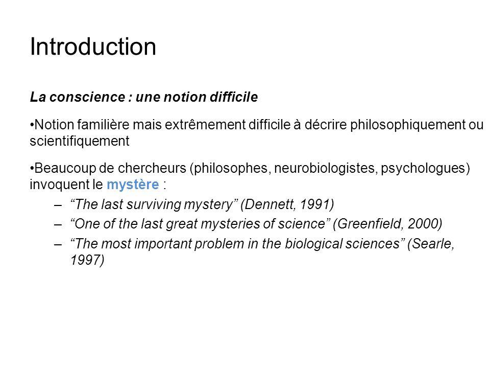 Introduction La conscience : une notion difficile Notion familière mais extrêmement difficile à décrire philosophiquement ou scientifiquement Beaucoup