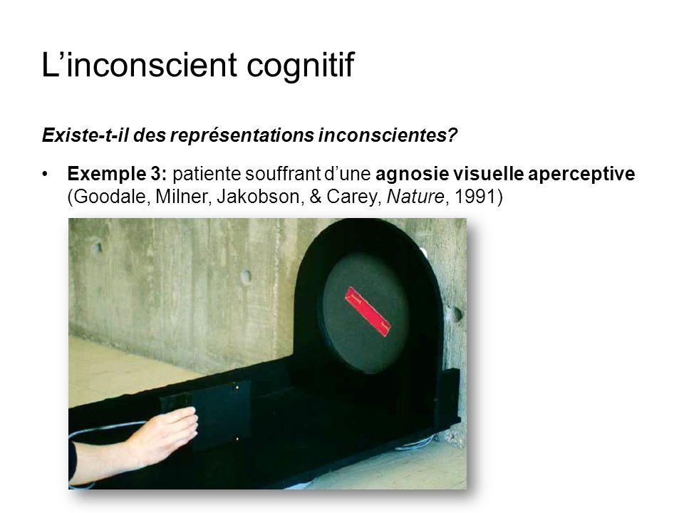 Linconscient cognitif Existe-t-il des représentations inconscientes? Exemple 3: patiente souffrant dune agnosie visuelle aperceptive (Goodale, Milner,